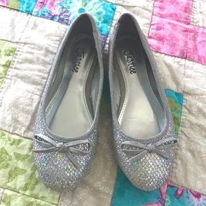 Justice Sparkly Silver Ballet Flats
